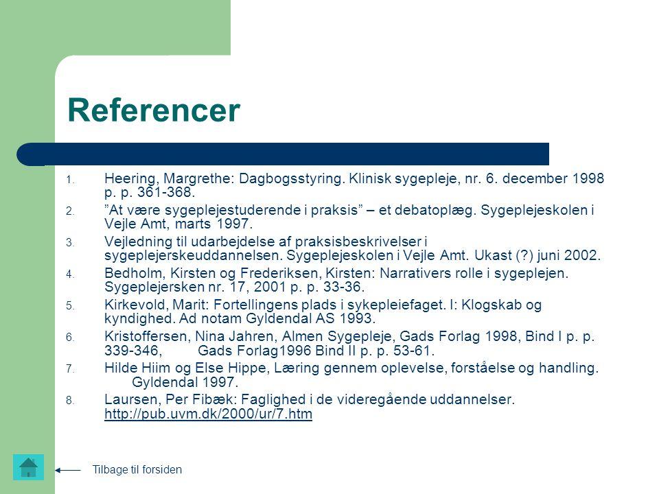 Referencer Heering, Margrethe: Dagbogsstyring. Klinisk sygepleje, nr. 6. december 1998 p. p. 361-368.