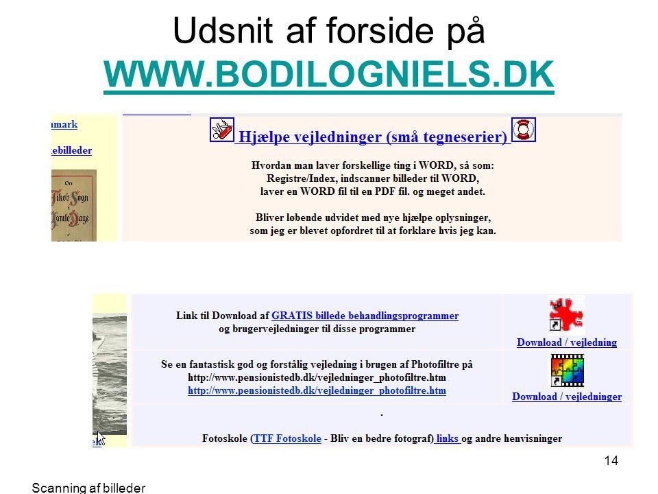 Udsnit af forside på WWW.BODILOGNIELS.DK