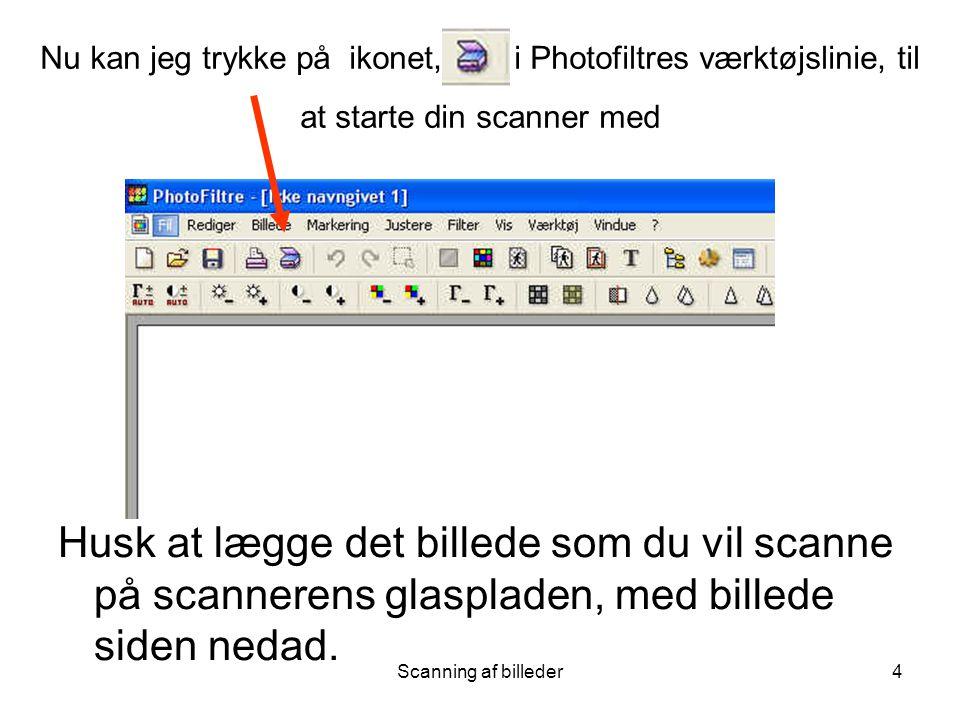 Nu kan jeg trykke på ikonet, i Photofiltres værktøjslinie, til at starte din scanner med