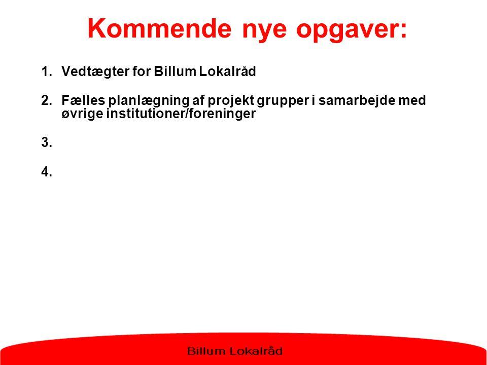 Kommende nye opgaver: Vedtægter for Billum Lokalråd