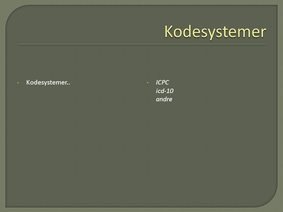 Kodesystemer Kodesystemer.. ICPC icd-10 andre