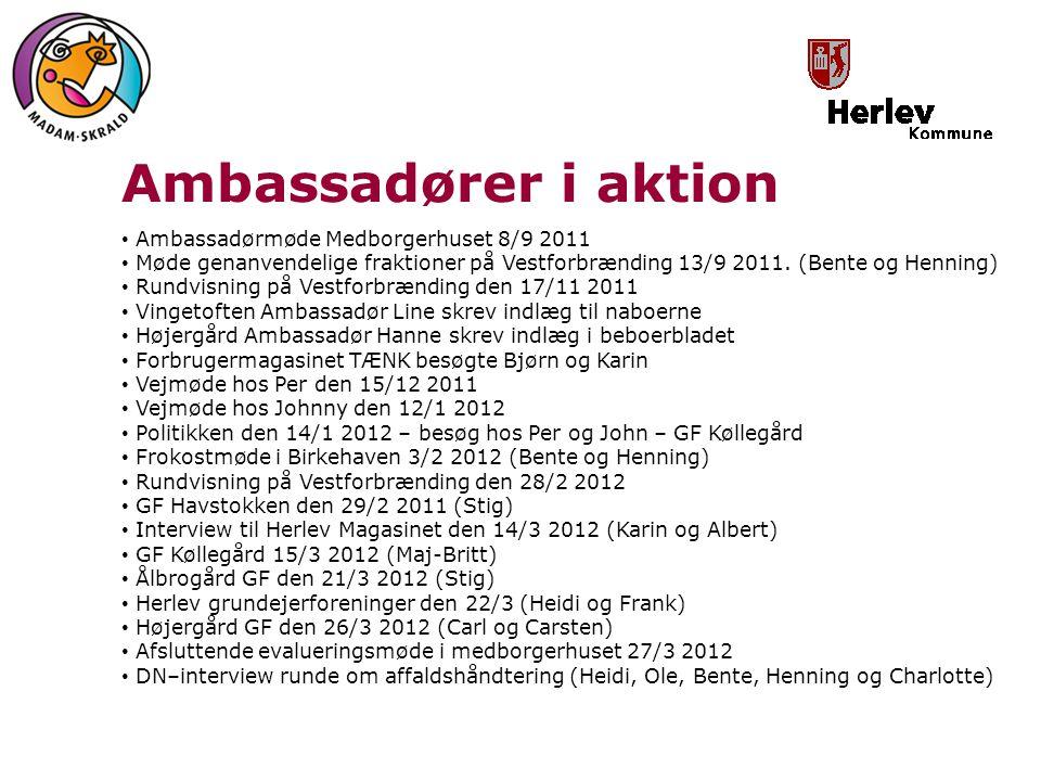 Ambassadører i aktion Ambassadørmøde Medborgerhuset 8/9 2011