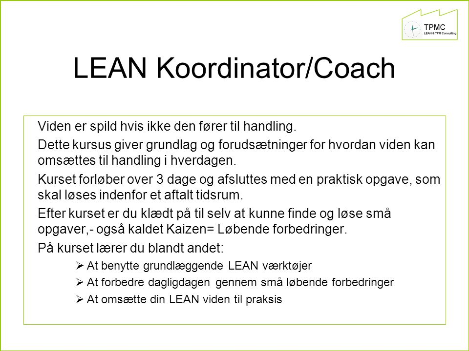 LEAN Koordinator/Coach
