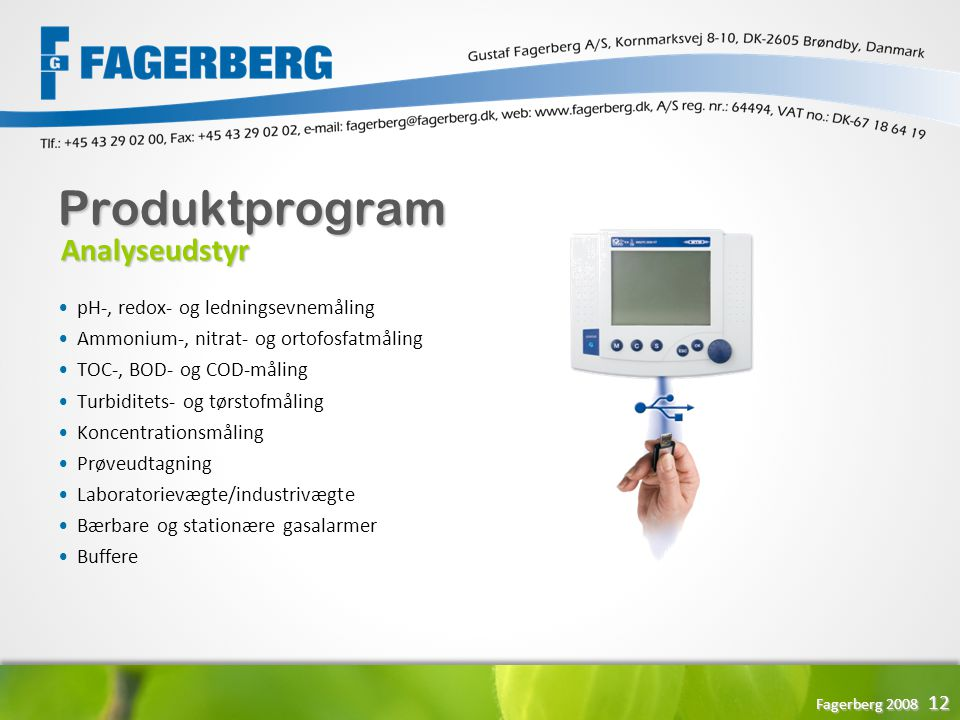 Produktprogram Analyseudstyr pH-, redox- og ledningsevnemåling