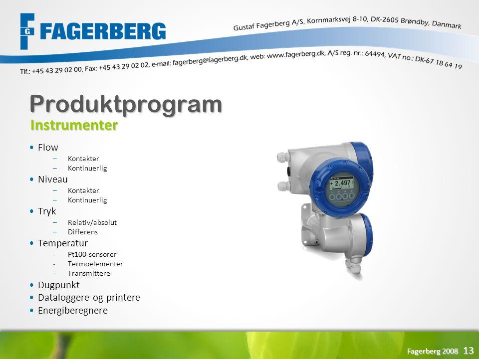 Produktprogram Instrumenter Flow Niveau Tryk Temperatur Dugpunkt