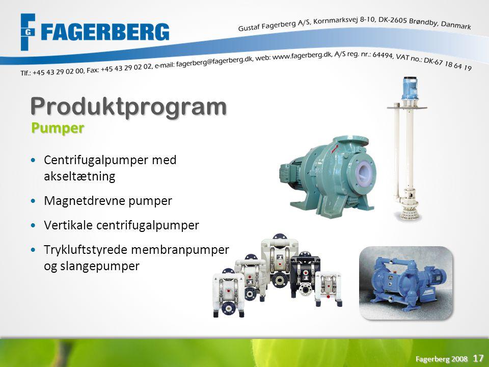 Produktprogram Pumper Centrifugalpumper med akseltætning
