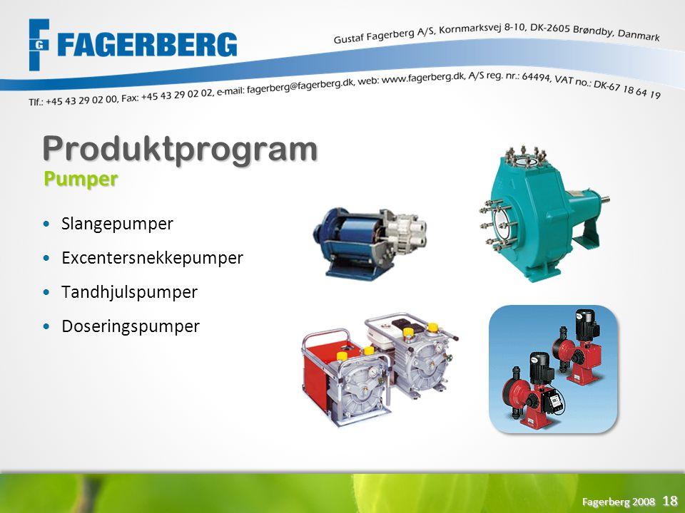 Produktprogram Pumper Slangepumper Excentersnekkepumper