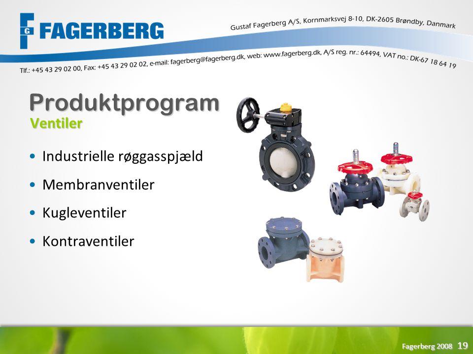 Produktprogram Ventiler Industrielle røggasspjæld Membranventiler