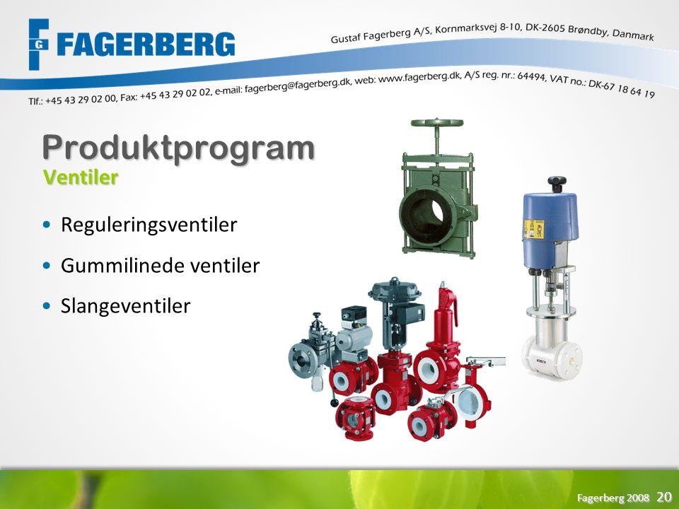 Produktprogram Ventiler Reguleringsventiler Gummilinede ventiler