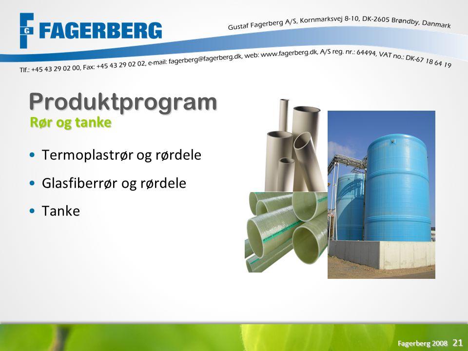 Produktprogram Rør og tanke Termoplastrør og rørdele