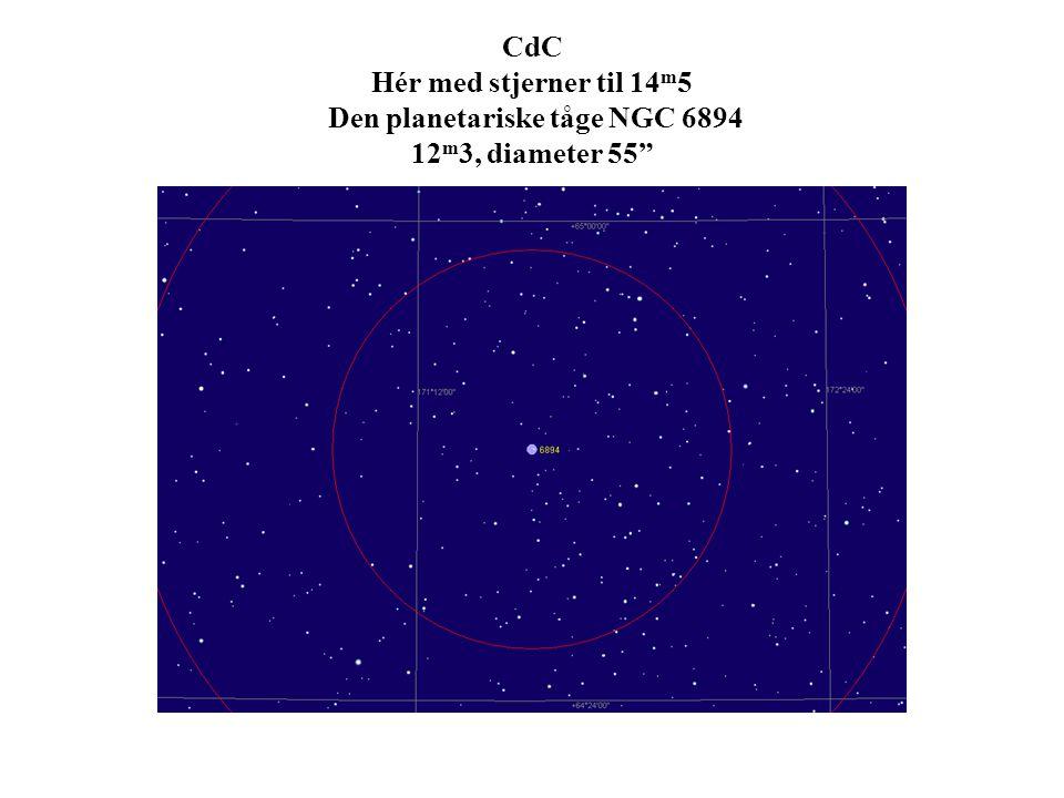 CdC Hér med stjerner til 14m5 Den planetariske tåge NGC 6894 12m3, diameter 55