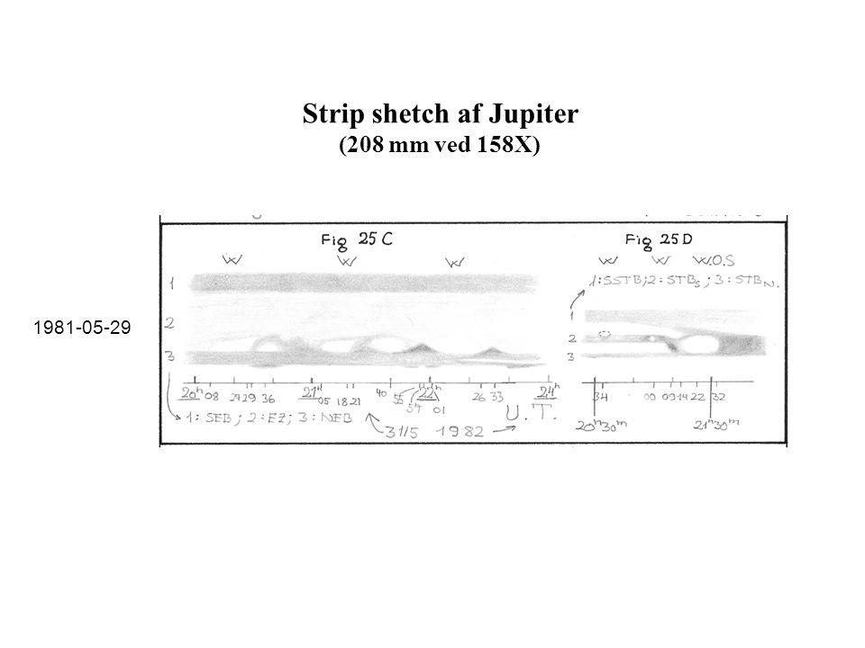 Strip shetch af Jupiter (208 mm ved 158X)