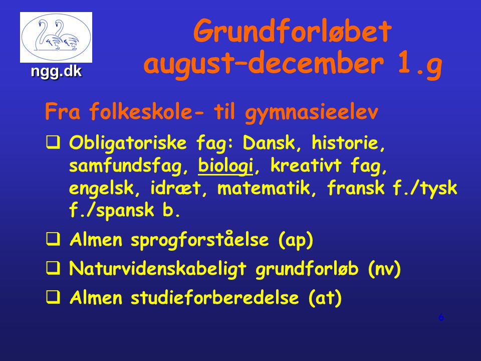 Grundforløbet august–december 1.g