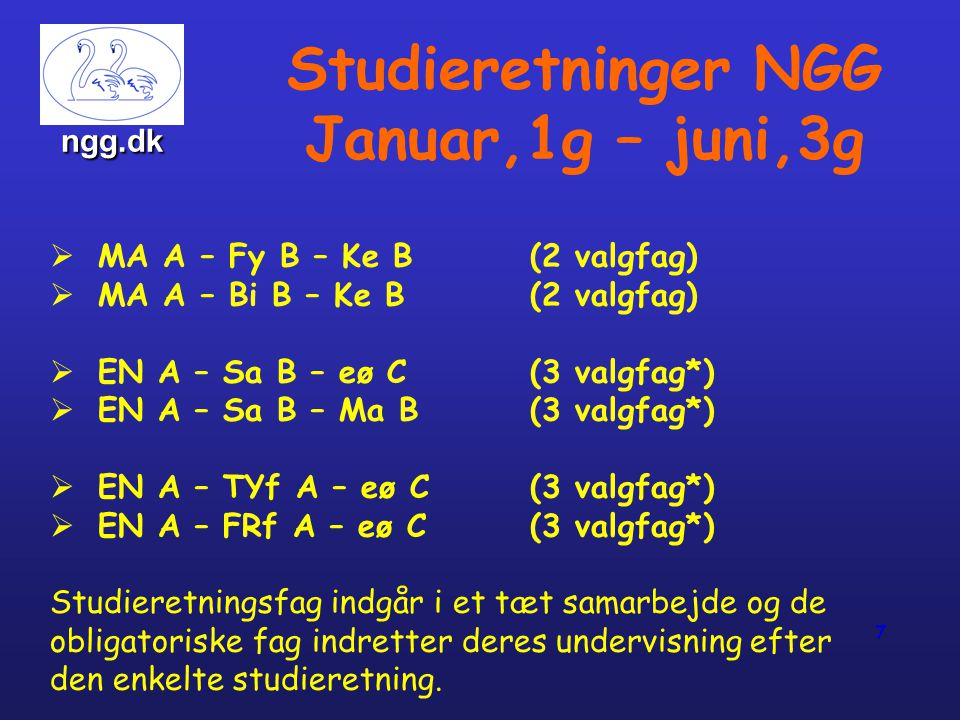 Studieretninger NGG Januar,1g – juni,3g