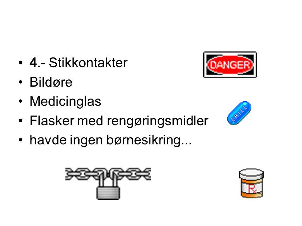 4.- Stikkontakter Bildøre Medicinglas Flasker med rengøringsmidler havde ingen børnesikring...