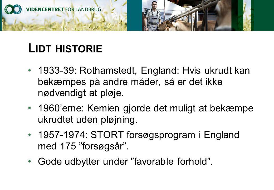 Lidt historie 1933-39: Rothamstedt, England: Hvis ukrudt kan bekæmpes på andre måder, så er det ikke nødvendigt at pløje.