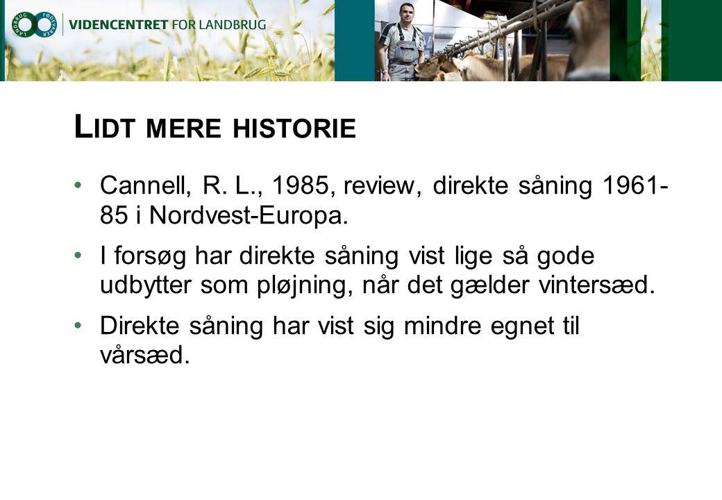 Lidt mere historie Cannell, R. L., 1985, review, direkte såning 1961-85 i Nordvest-Europa.