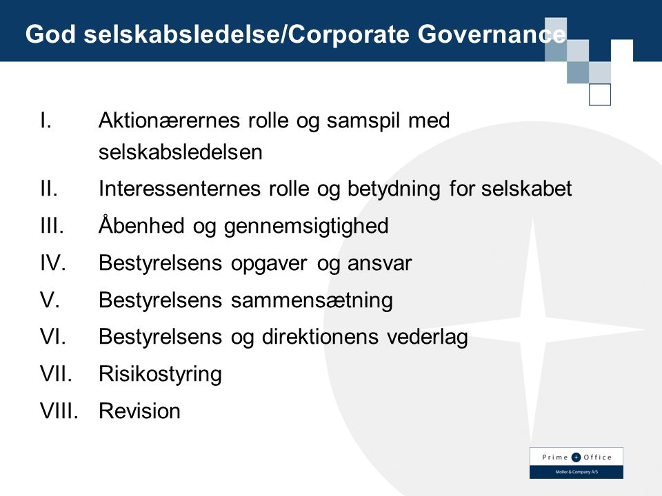 God selskabsledelse/Corporate Governance