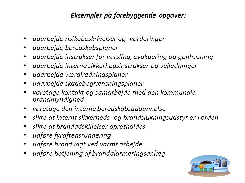 Eksempler på forebyggende opgaver: