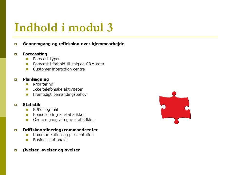 Indhold i modul 3 Gennemgang og refleksion over hjemmearbejde