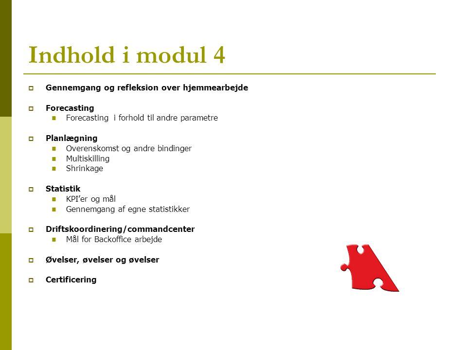 Indhold i modul 4 Gennemgang og refleksion over hjemmearbejde