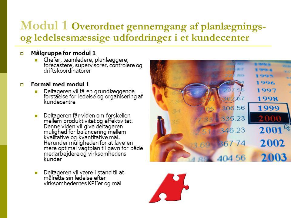 Modul 1 Overordnet gennemgang af planlægnings- og ledelsesmæssige udfordringer i et kundecenter