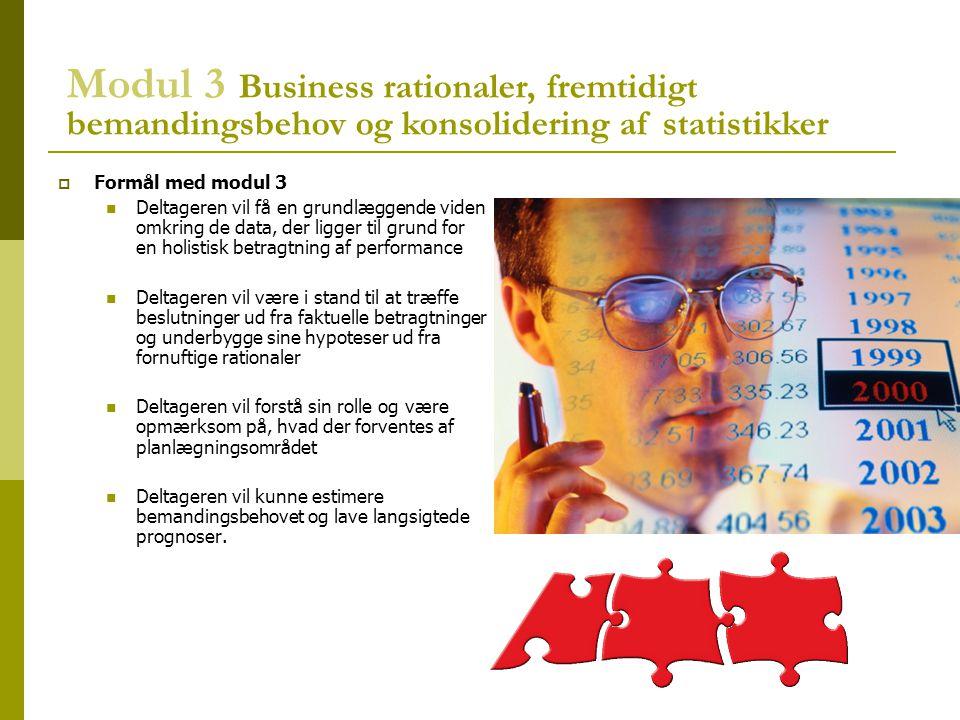Modul 3 Business rationaler, fremtidigt bemandingsbehov og konsolidering af statistikker