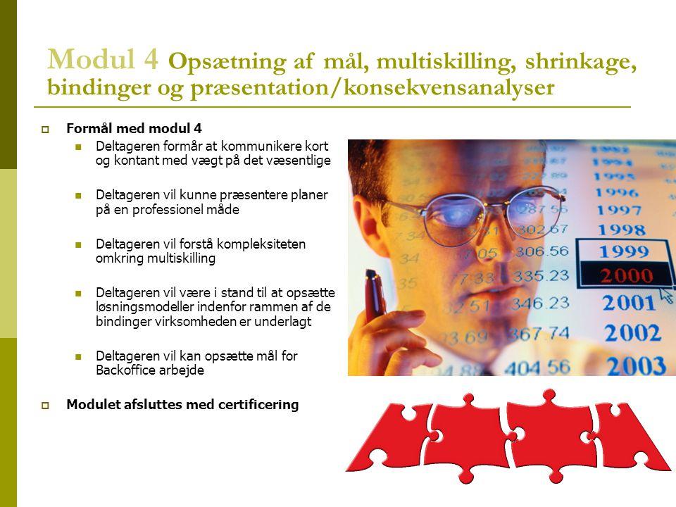 Modul 4 Opsætning af mål, multiskilling, shrinkage, bindinger og præsentation/konsekvensanalyser