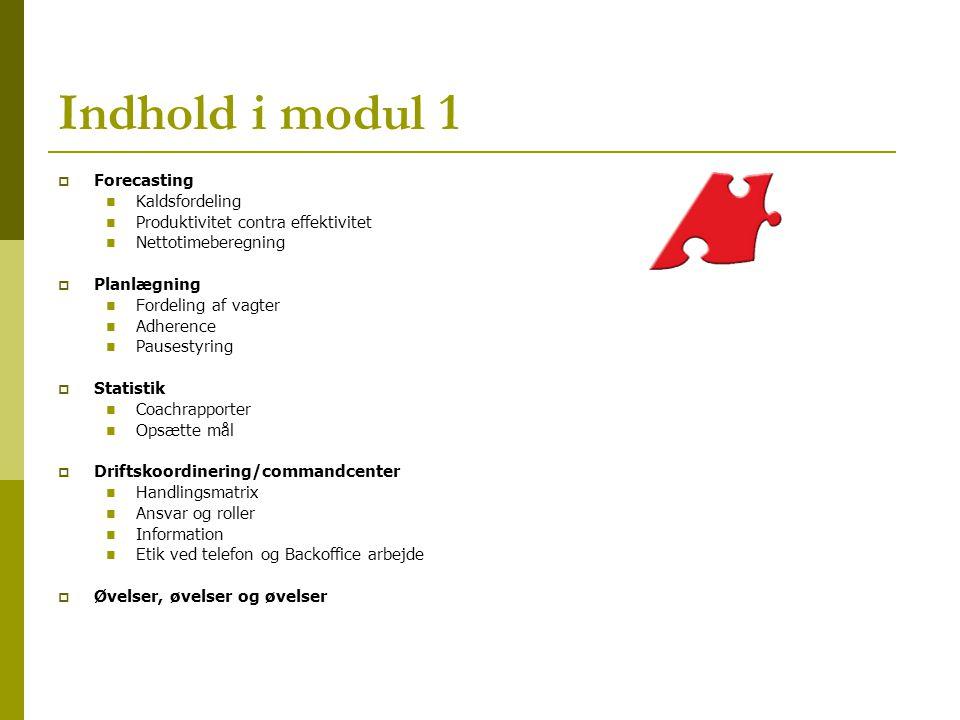 Indhold i modul 1 Forecasting Kaldsfordeling