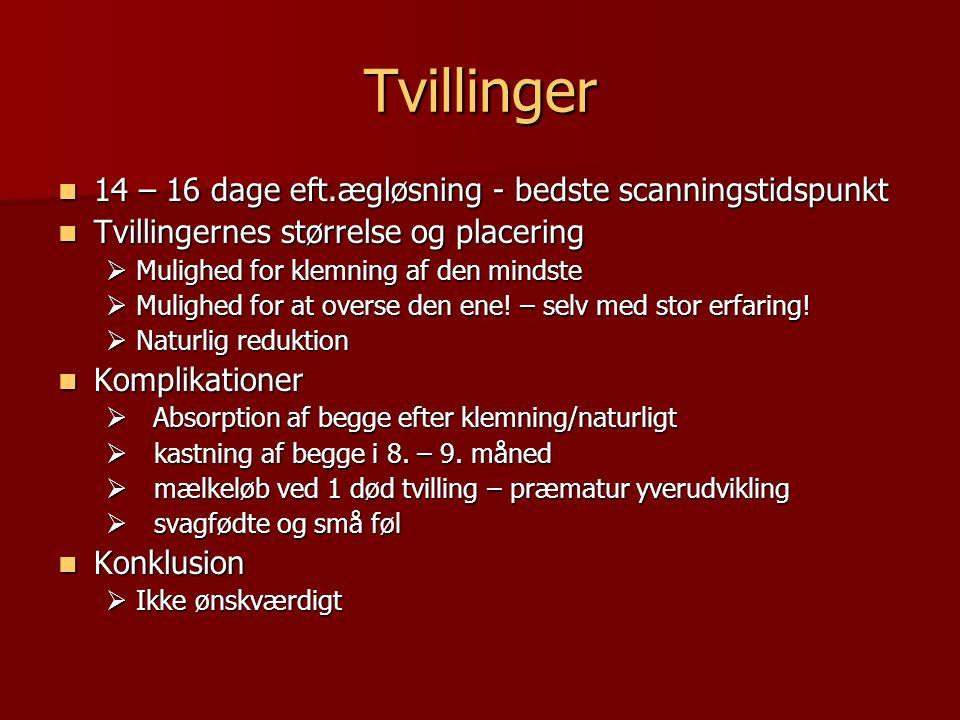 Tvillinger 14 – 16 dage eft.ægløsning - bedste scanningstidspunkt