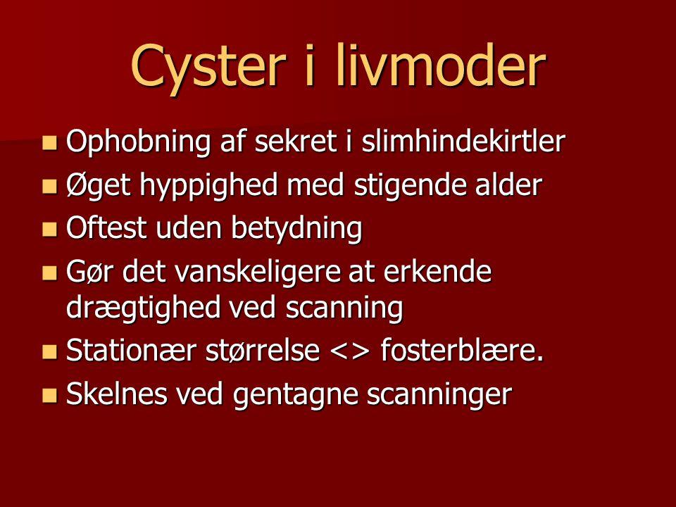 Cyster i livmoder Ophobning af sekret i slimhindekirtler