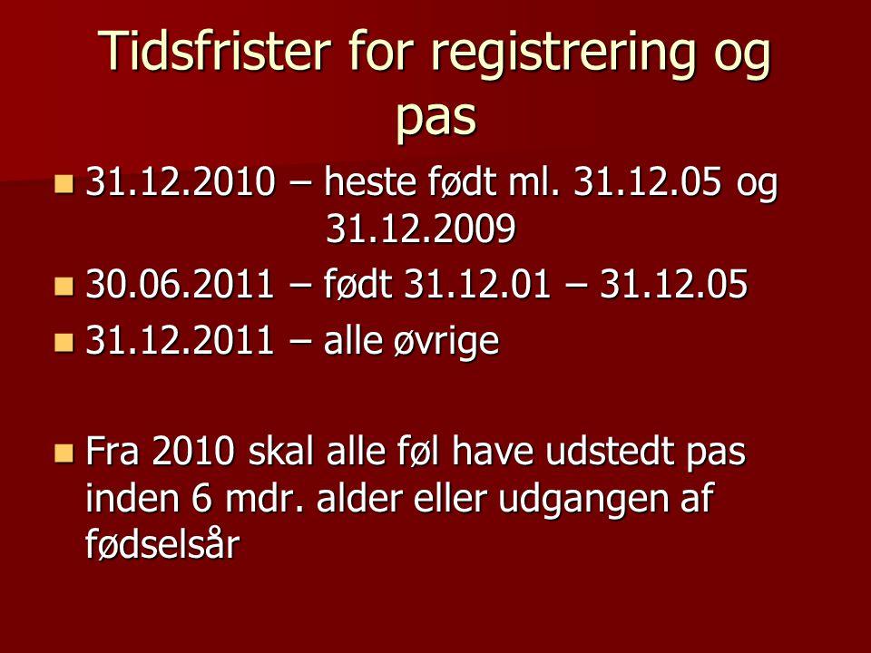 Tidsfrister for registrering og pas