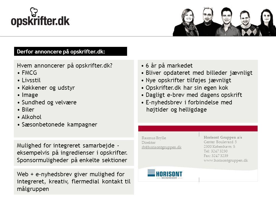 Hvem annoncerer på opskrifter.dk FMCG Livsstil Køkkener og udstyr