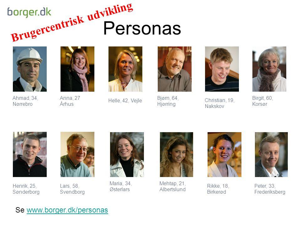 Personas Brugercentrisk udvikling Se www.borger.dk/personas