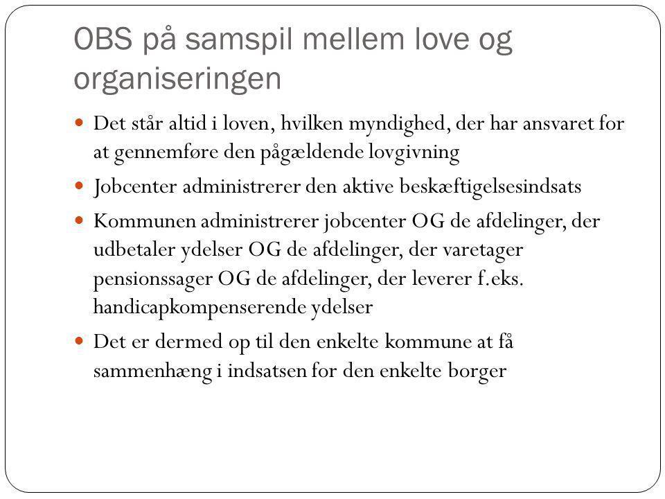 OBS på samspil mellem love og organiseringen