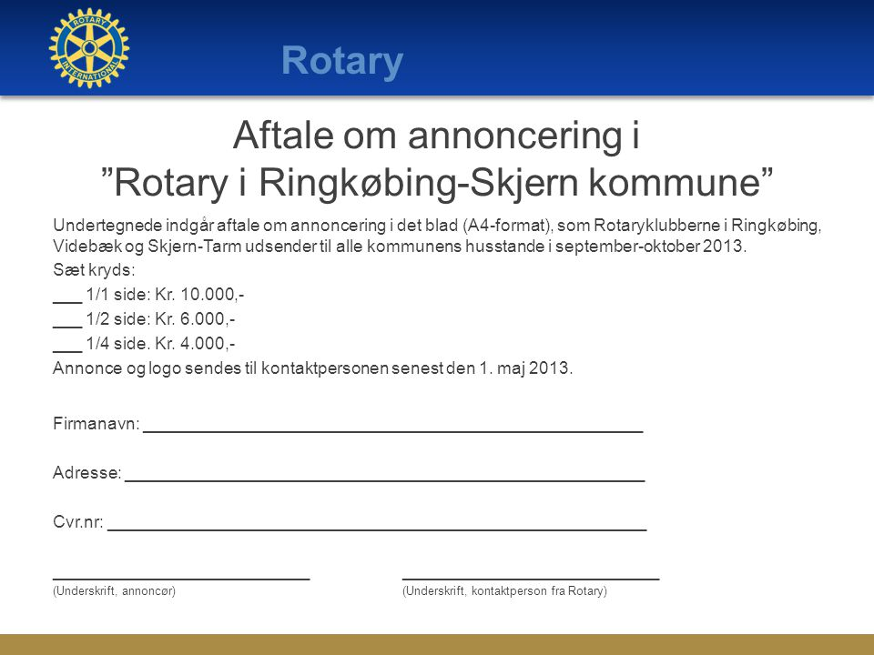 Aftale om annoncering i Rotary i Ringkøbing-Skjern kommune
