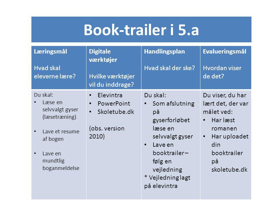 Book-trailer i 5.a Læringsmål Hvad skal eleverne lære