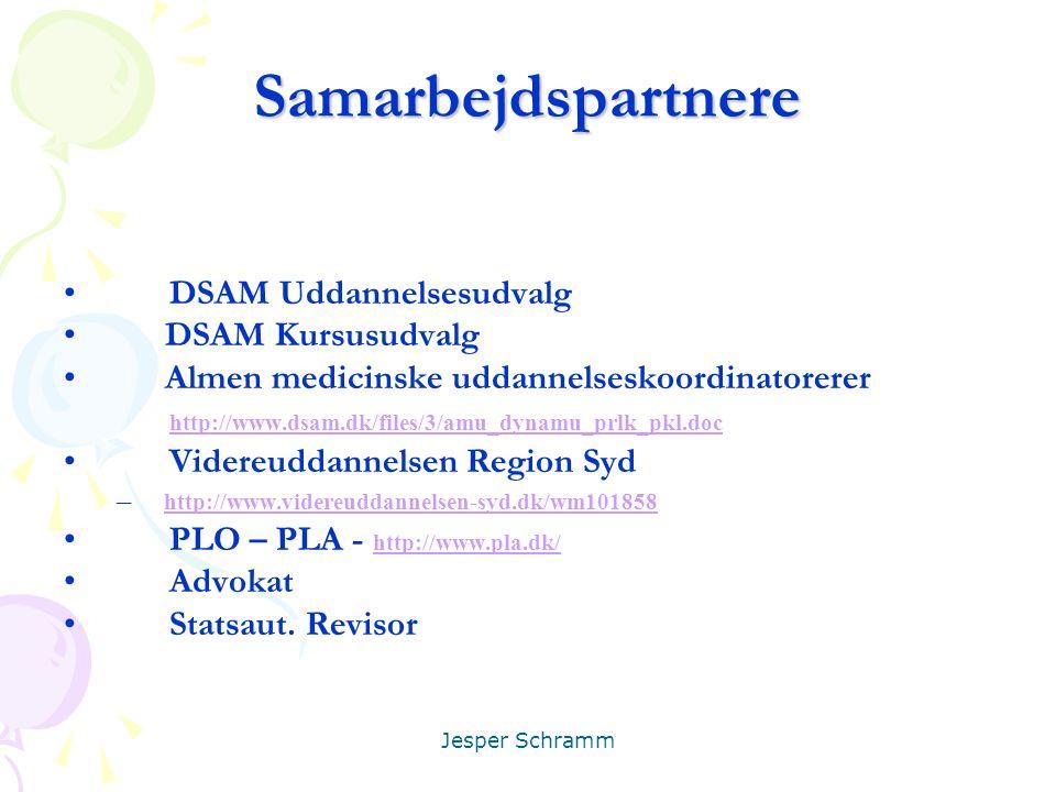 Samarbejdspartnere DSAM Uddannelsesudvalg DSAM Kursusudvalg