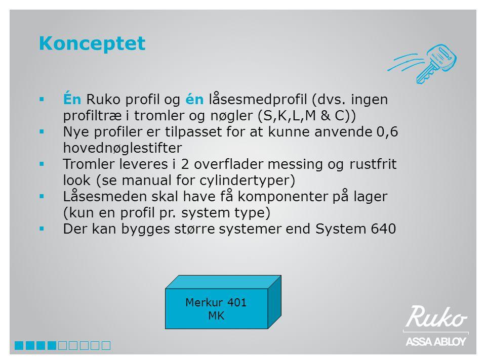Konceptet Én Ruko profil og én låsesmedprofil (dvs. ingen profiltræ i tromler og nøgler (S,K,L,M & C))