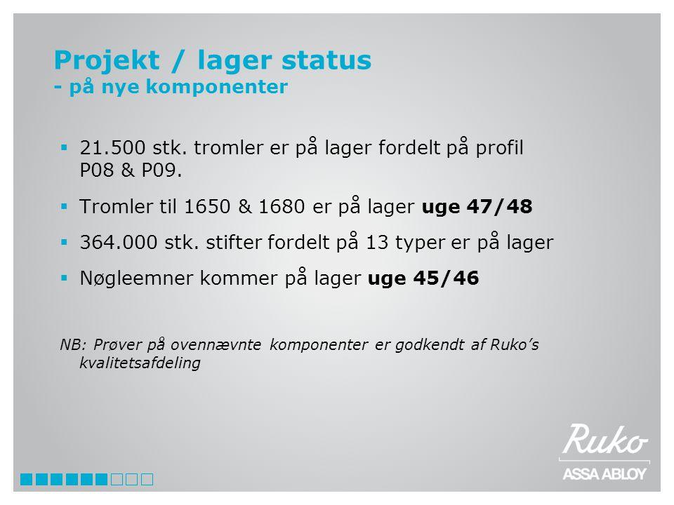 Projekt / lager status - på nye komponenter