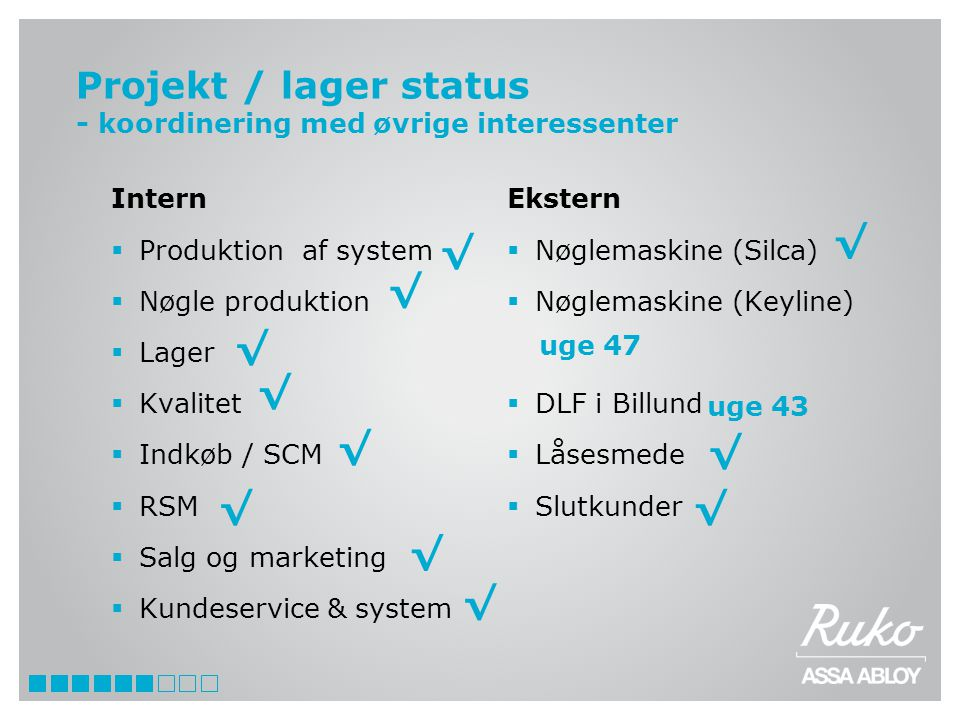 Projekt / lager status - koordinering med øvrige interessenter