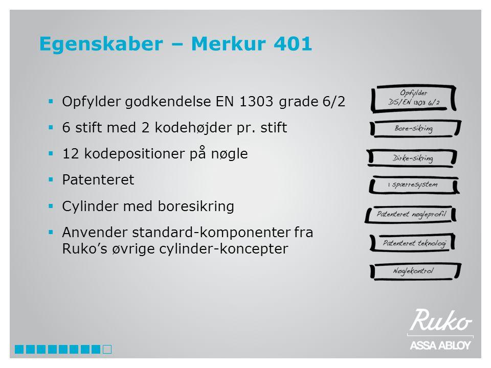 Egenskaber – Merkur 401 Opfylder godkendelse EN 1303 grade 6/2