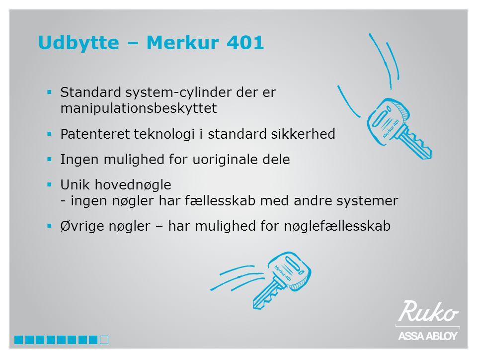Udbytte – Merkur 401 Standard system-cylinder der er manipulationsbeskyttet. Patenteret teknologi i standard sikkerhed.