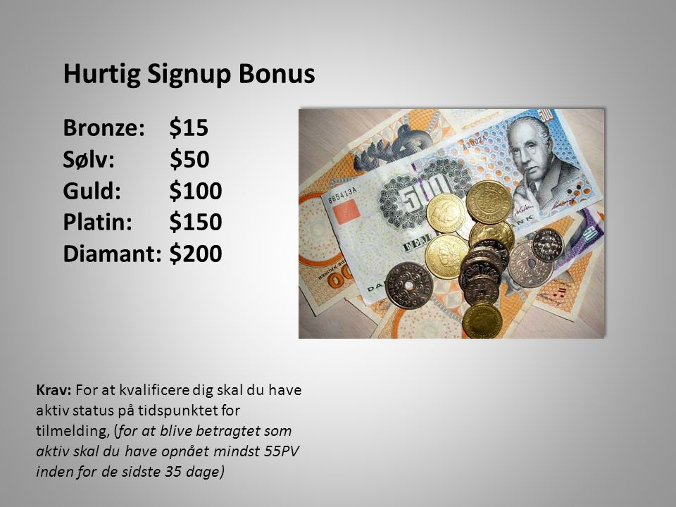 Hurtig Signup Bonus Bronze: $15 Sølv: $50 Guld: $100 Platin: $150