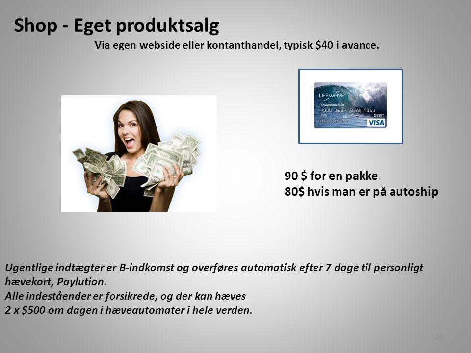 Via egen webside eller kontanthandel, typisk $40 i avance.
