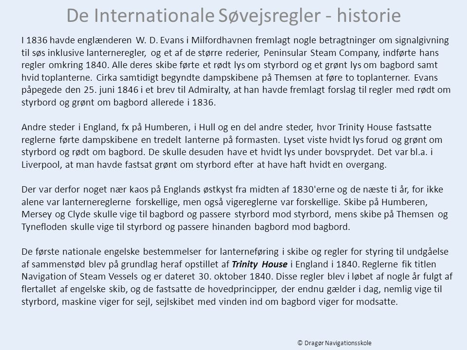 De Internationale Søvejsregler - historie