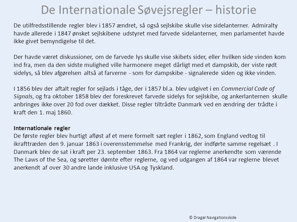 De Internationale Søvejsregler – historie