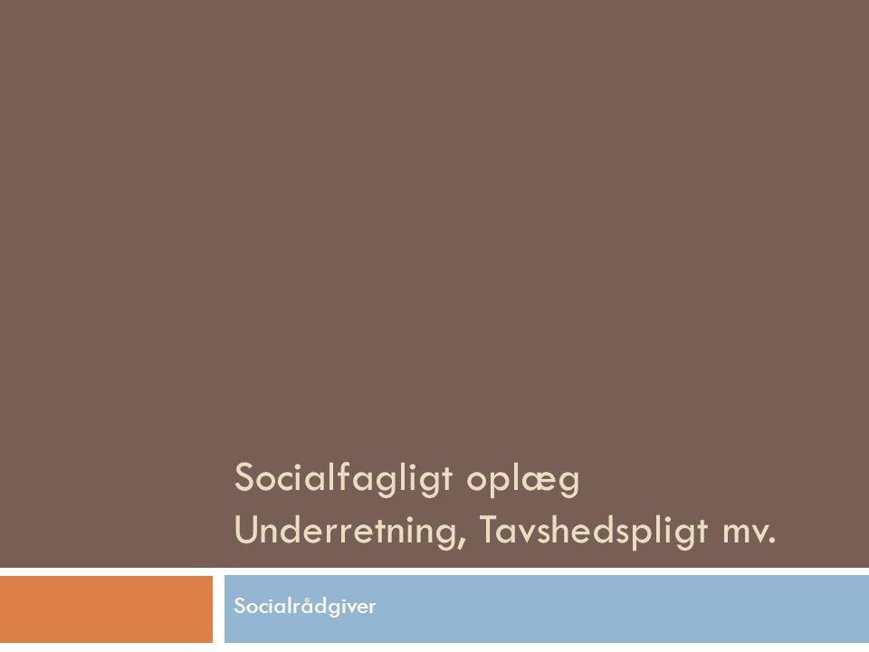 Socialfagligt oplæg Underretning, Tavshedspligt mv.