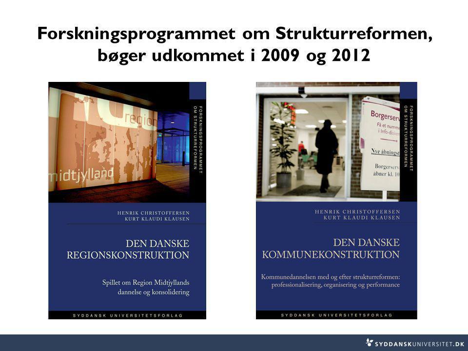 Forskningsprogrammet om Strukturreformen, bøger udkommet i 2009 og 2012