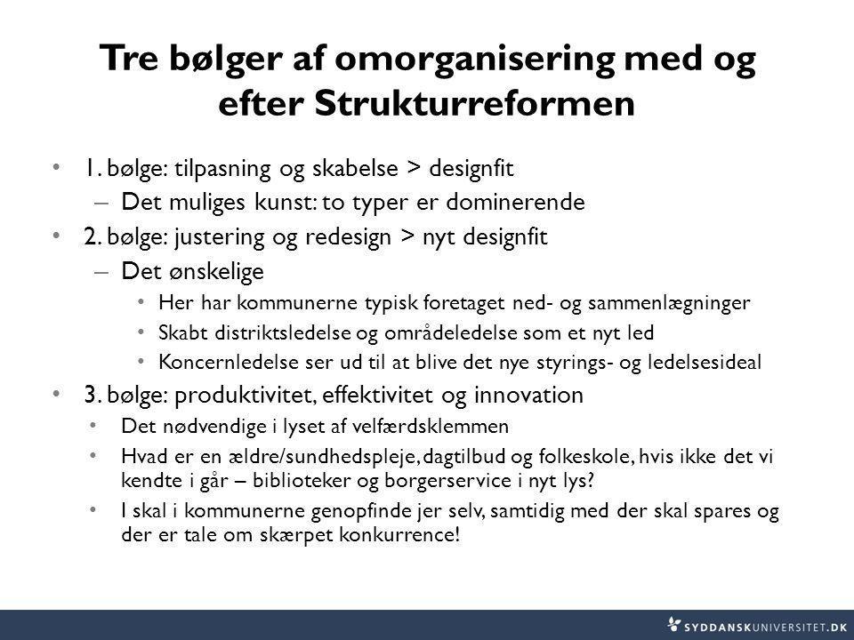 Tre bølger af omorganisering med og efter Strukturreformen